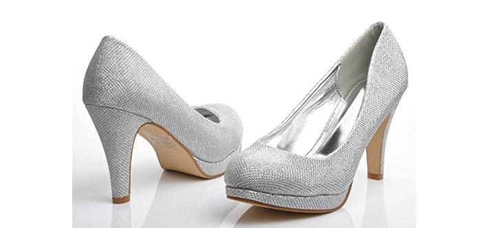 Zapatillas plateadas para vestido largo