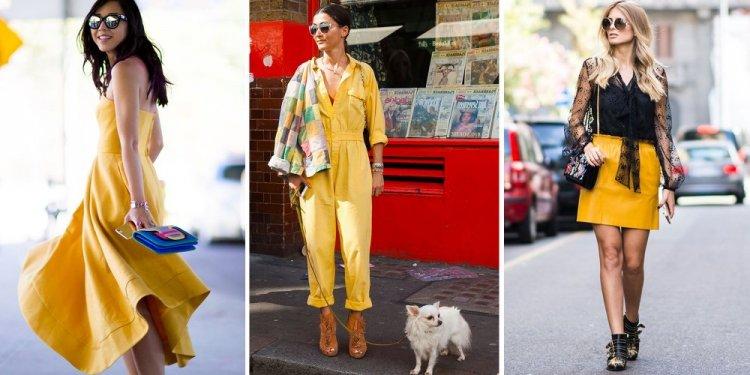 Cómo combinar amarillo y complementos dorados