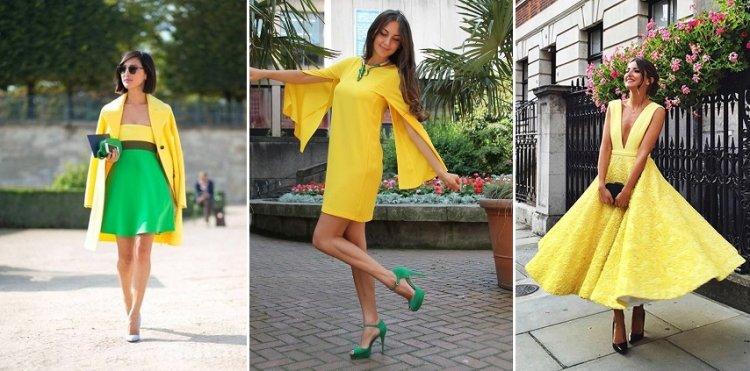 Cómo combinar un vestido amarillo con verde