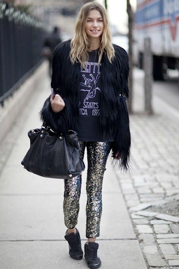 Pantalones con brillo y chaqueta de pelos